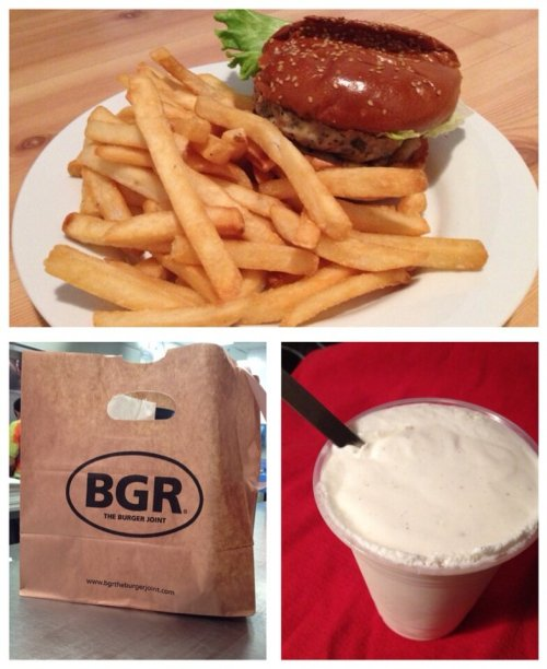 After two days of fighting the stomach flu, I got a sudden craving for a BGR burger, fries and shake. I only ate about 1/4 of this but, hey, it's a start!