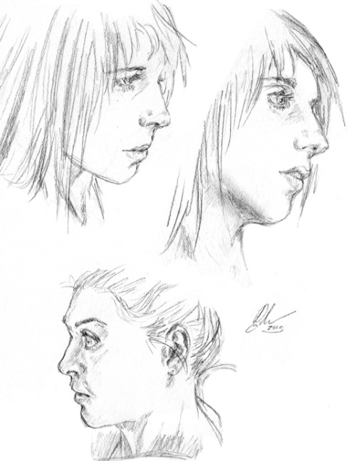 Realism/face/profile studies. All reffed from free ImagineFX anatomy reference photos (always so incredibly helpful, thanks IFX! <3). Not recent stuff but they're from this year at least. Feverish and allergies playing up today so the ton of arty stuff I wanted to do today ain't getting touched yay. 8D