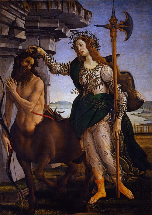 Pallas and the Centaur. Sandro Botticelli, c. 1482.   (Click for high-res, 2 MB)