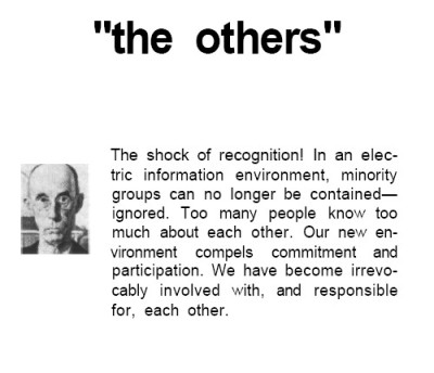 Marshall McLuhan, The Medium is the Massage 1964, Gingko Press, 2001 p. 24., review by  Sjef van Gaalen