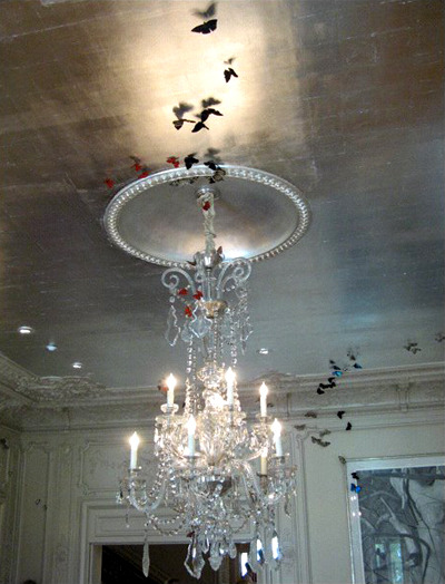 Silver-leafed ceiling adorned with silk butterflies by Candace Barnes at the 2008 San Francisco Decorator Showcase (via {this is glamorous} via More Ways to Waste Time )