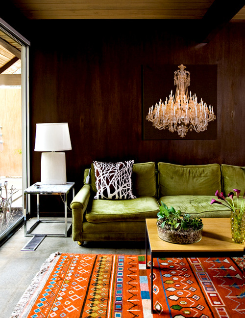 "love this living room i found over at apartmenttherapy.com. the chandelier painting is off the chain. f.y.i. that is the first time i've said (or typed) ""off the chain""."