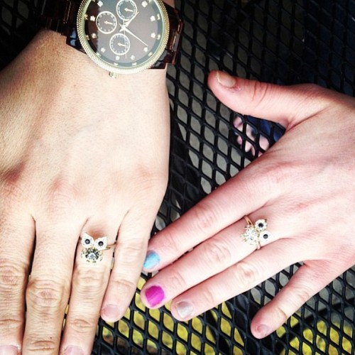 The cutest fan photo ever of our Crystal Owl Ring in gray (on the left) and gold from @jenjenree and friend! #dailylook #regram