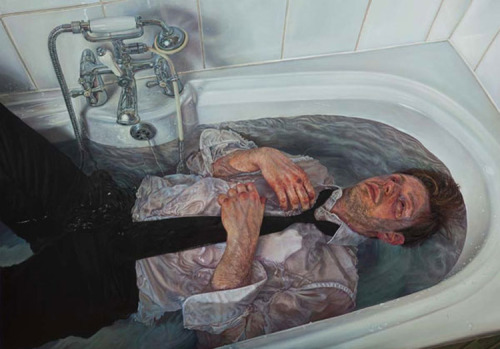 2headedsnake:  Ian Cumberland Swim or Sink, 2012 oil on board