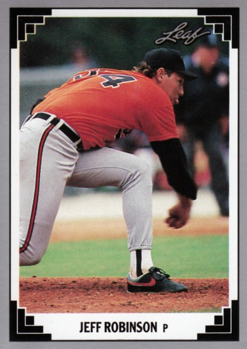 Random Baseball Card #2328: Jeff Robinson, pitcher, Baltimore Orioles, 1991, Leaf.