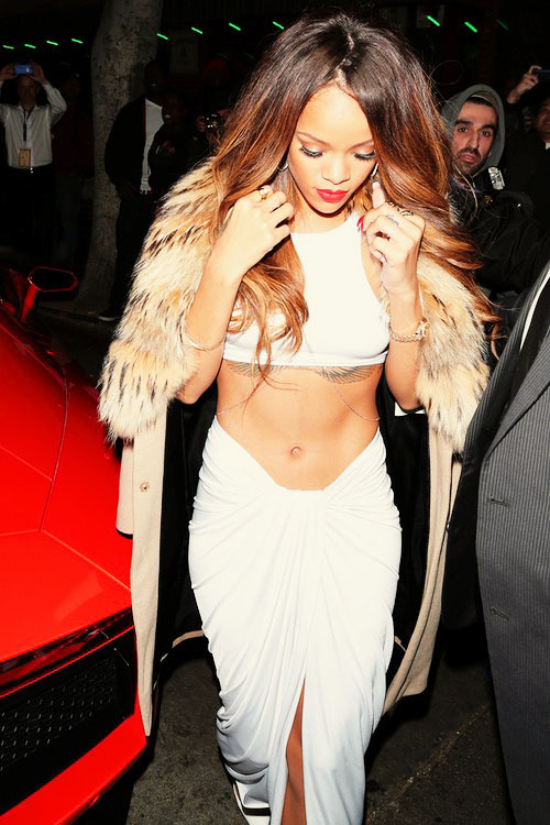Rihanna arrives at the Supper Club after the Grammy Awards in Los Angeles.