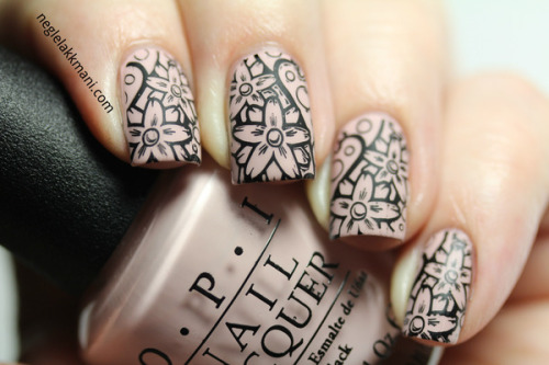beautylish:   Floral nail stamping and matte nail polish from Karianne I.!