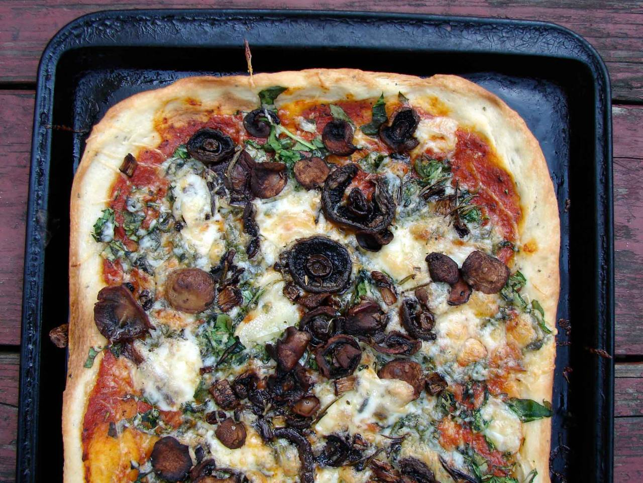 Pizza with Baby Spinach, Rosemary Roasted Mushrooms, and Brie