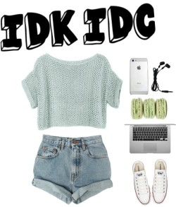 IDK IDC por hawtblawger con converse shoes ❤ liked on PolyvoreSweater / Levi's bleached shorts / Converse  shoes, $84