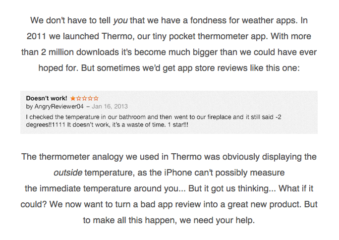 Humor/storytelling: this is the email that kicked off Thermodo's Kickstarter success.