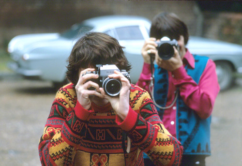 truthaboutthebeatlesgirls:  Shutterbugs May 1968 - Mia Farrow and Ringo Starr behind their cameras in Church Square, Shepperton photographed by Henry Grossman from his book, Places I Remember: My Time With the Beatles. Ringo, Maureen, Mia Farrow and Henry Grossman spent the day together, first visiting at Ringo and Maureen's home, Sunny Heights, then going out for a meal together at a restaurant in Church Square, and then they all went back to Mia's house where they were joined by George and Pattie.