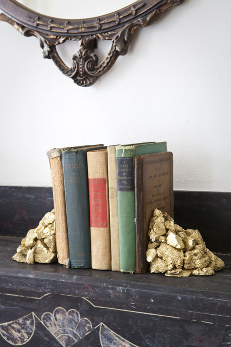 niftyncrafty:  Alchemy Bookends | Design*Sponge The whole time I was looking at this I was just thinking how Pottery it seemed, and if the stones were red perhaps, it would do nicely as the Philosophers Stone. Not that there were piles of them.. but you get my thinking.  A pretty sweet DIY all the same.