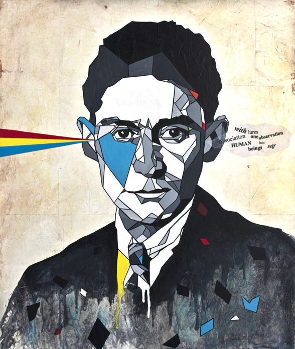 sfmoma:  SUBMISSION: Kafka by DAAS   mixed media on wood. http://www.artist-daas.com/geometrics/