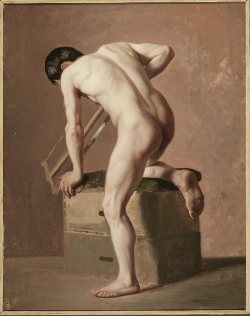 Isodoro Loranzo (spanish, born 1826), male nude sawing, 1852