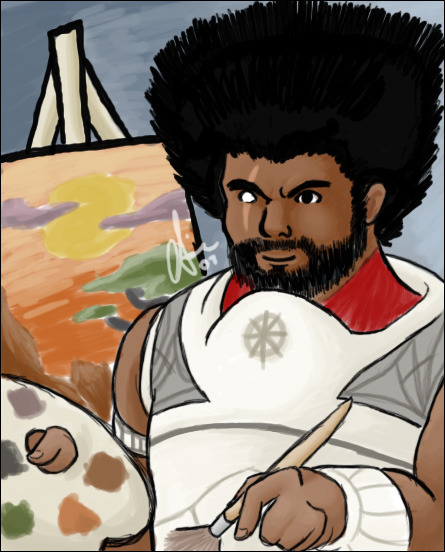 reminder that i once drew shitty fanart of koss from gw1 as bob ross