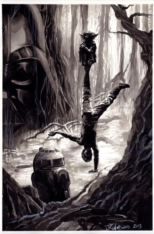 Infamous Star Wars Scene. Luke Learning The Force.  arwork by JK Woodward @JK_Woodward http://jkwoodwardart.blogspot.com/