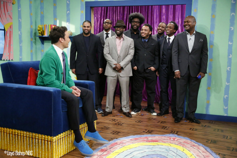 "latenightjimmy:  The Roots stopping by Jimmy's Corner  ""Hi, The Roots!"""