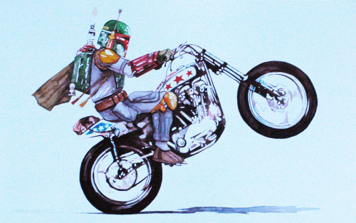 Evil Boba Fettevel! Tumblr…you don't have enough wheelies on you! By: Starshipmates AKA Augusto Lorenzo ETSY