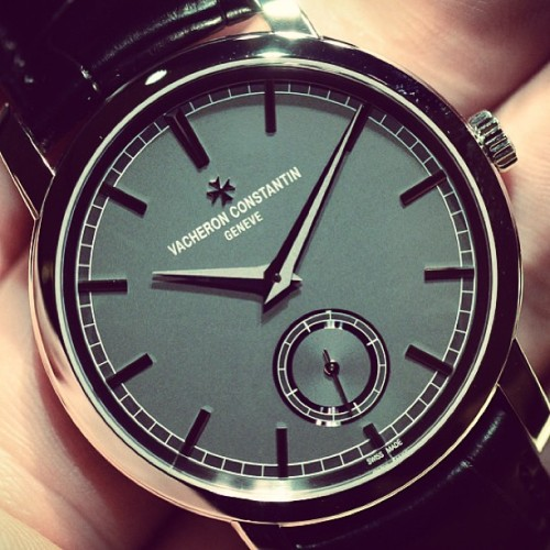 One of the few I can't get out of my head from #sihh. The gorgeous Vacheron Patrimony now in platinum case w slate grey dial.  (at HODINKEE Headquarters)