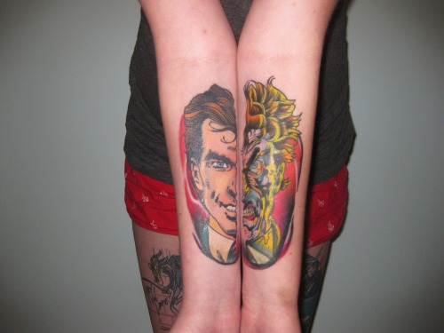 fuckyeahtattoos:  two-face done by nick @new age tattoosspringfield, il   Yes!!