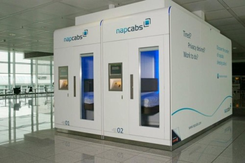 "laughingsquid:  napcabs, Miniature Sleeping Cabins for Airport Terminals  Let's file this under ""Need one in my office."""