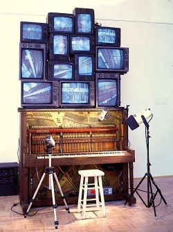 "arpeggia:  Nam June Paik - Piano Piece, 1993 Piano Piece was created by Nam June Paik as a tribute to his close friend and mentor, avant-garde composer John Cage, who died in 1992. Paik met Cage in 1958 in Germany, a meeting that was crucial to Paik's future role as the ""father of video art."" [via]"