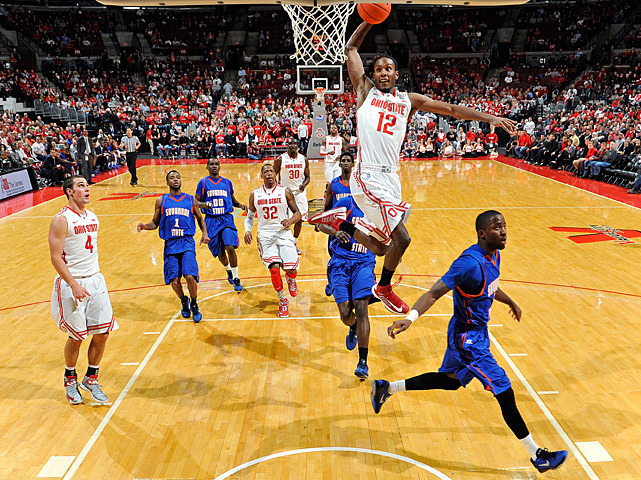 Sam Thompson soars for a dunk during Wednesday's Ohio State-Savannah State game. The No. 7 Buckeyes dominated from start to finish on their way to a 85-45 victory. (Jamie Sabau/Getty Images) POWER RANKINGS: Find out how Ohio State stacks up
