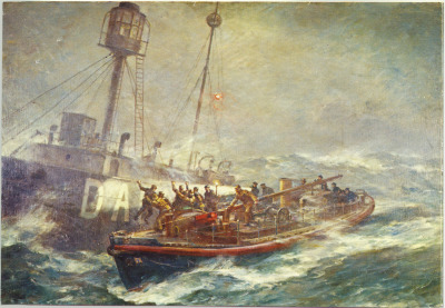 The Daunt Rescue by BF Gribble(full size) A postage stamp was issued in 1974 to mark the 150th anniversary of theRoyal National Lifeboat Institution. This depiction of the rescue of the crew of the Daunt Lightship by the Ballycotton lifeboat RNLB Mary Stanford (ON733) was chosen as the image. On 7 February 1936, the crew of the Mary Stanford performed what many regard as the most famous sea rescue: that of the Daunt Lightship Comet. - read the story of the harrowing 63 hour rescue -    The Daunt Lightship Comet survived; was sold, and went on to becomeRadio Scotland, a pirate radio station.  more about Radio Scotland 242