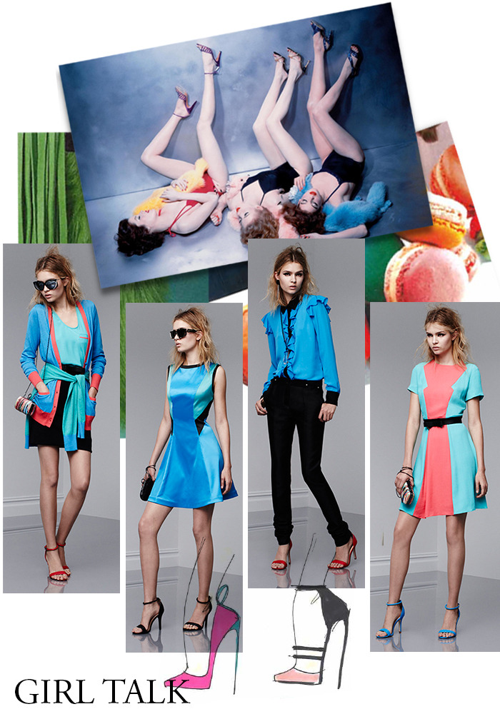 Girl Talk Moodboard and pieces by Prabal Gurung. Photo of three girls by Guy Bourdin.