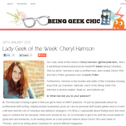 Hey that's me! Check out my feature on Being Geek Chic