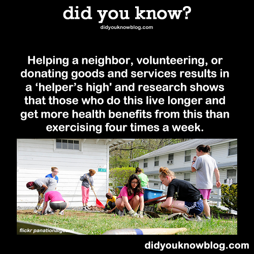 """did-you-kno:  Helping a neighbor, volunteering, or donating goods and services results in a """"helper's high"""" and research shows that those who do"""