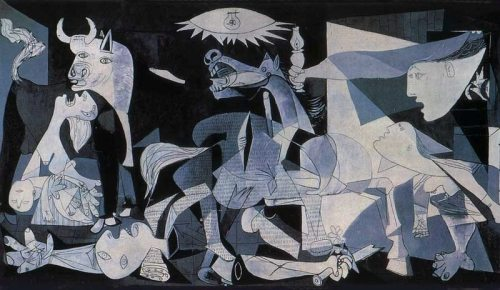 """Guernica"" by Pablo Picasso Guernica shows the tragedies of war and the suffering it inflicts upon individuals, particularly innocent civilians. This work has gained a monumental status, becoming a perpetual reminder of the tragedies of war, an anti-war symbol, and an embodiment of peace. Upon completion Guernica was displayed around the world in a brief tour, becoming famous and widely acclaimed. This tour helped bring the Spanish Civil War to the world's attention."