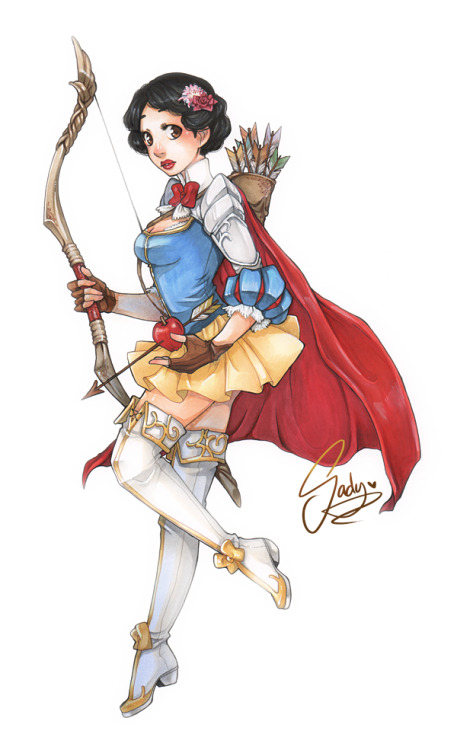 sadynax:  I drew Snow white warrior! So much fun to design armors and clothes! fdesignidsh — Even she is more like hunter… Mm. I shall call her 'Warrior of seven arrows' ! My scanner really sucks so I'm sorry for the bad quality of markers : C