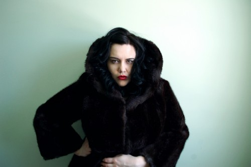 Self Portrait in Vintage Faux Fur Coat from the 50s - Penetanguishene Ontario - March 2013