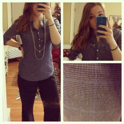 {What I Wore Today: December 18, 2012} New chambray shirt (Old Navy) My trusty brown and navy plaid pants from Gap (no longer available) Cheap F21 silver pearl necklace Attempted curling my very fine hair, which looked awesome for about 3 minutes until I tried taking a photo. Then it fell out.  Worn to work, and then hopefully out to drinks or something afterward. Still waiting for people to text me back :)