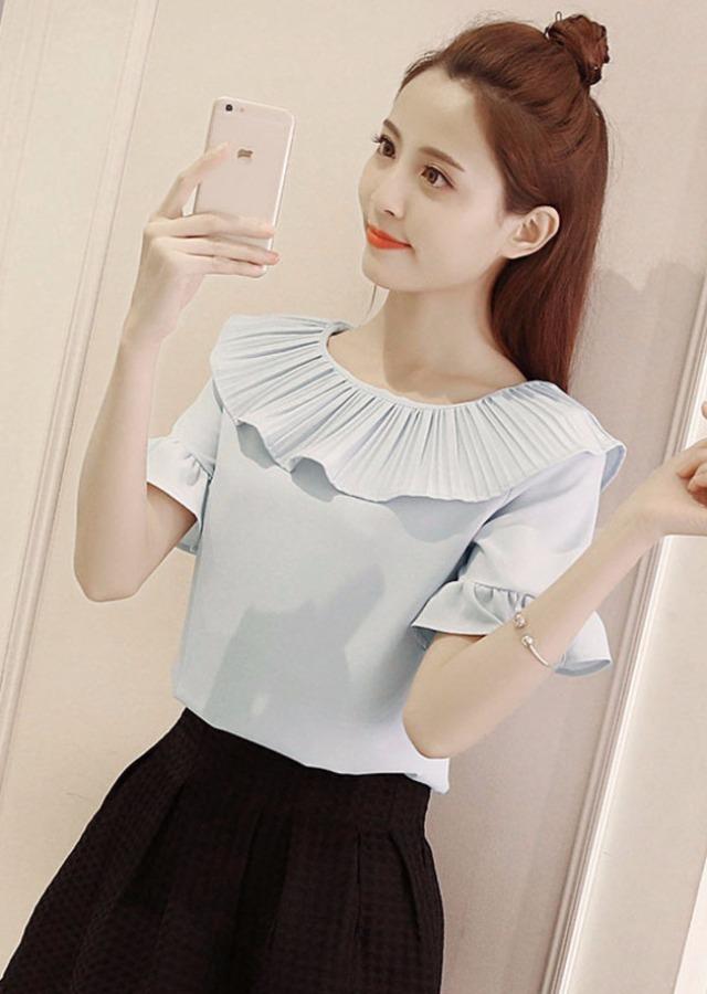 round neck chiffon shirt, slim, korean version, the new
