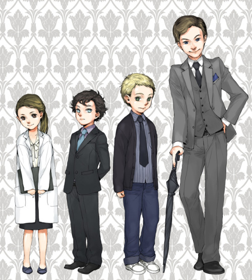 jupitereyed:  rivan-okurelin:  Molly - 7 Sherlock - 8 John - 10 Mycroft - 15  So this is REALLY adorable….