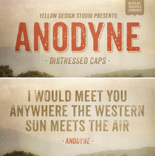 Anodyne - Grungy Typeface Anodyne is an all-caps distressed font by Yellow Design Studio (Font Design by Ryan Martinson). The font has an authentic hand-printed grunge texture and special layer shadow features. Anodyne includes several OpenType features such as different distress variations for each letter and double-letter ligatures to add a more realistic effect by eliminating identical texture in adjacent characters. You can switch between lowercase and capital letters to change the grunge texture or use OpenType contextual alternates. Anodyne's extended character set supports multiple languages. This typeface is a great choice for any retro vintage design. Buy the Anodyne font on MyFonts.com More about the Anodyne font on WE AND THE COLORWATC//Facebook//Twitter//Google+//Pinterest