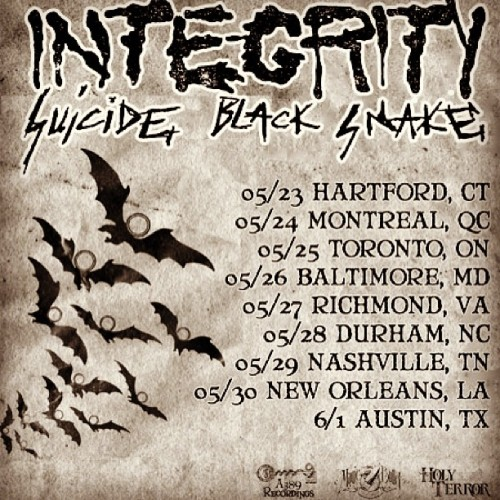 INTEGRITY tour starts this week!!  First time EVER in Canada!!! Who's stoked!!?!  Also CD/tshirt preorders up NOW at A389!  #integrity #a389 #magicbullet #thexbeast