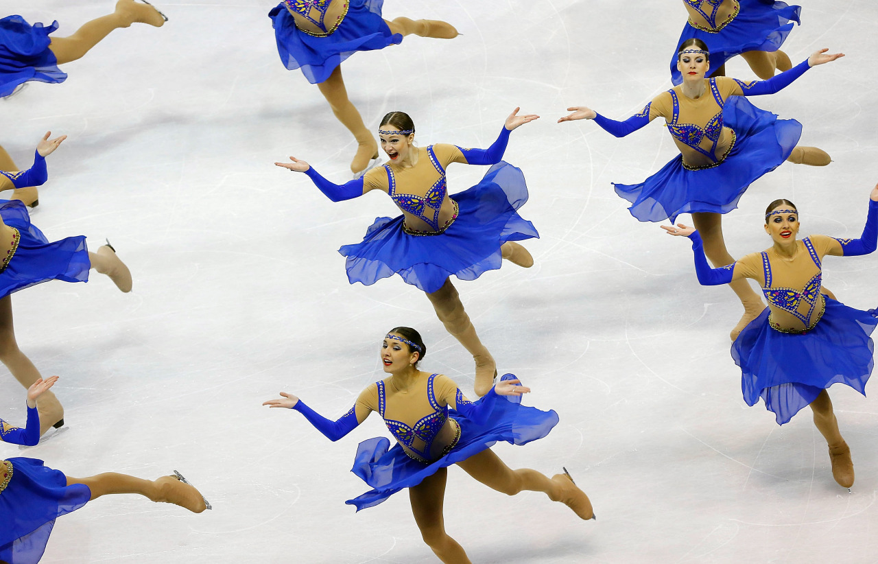 OUT OF THE BLUE: Team Russia 2 performs during the free skating competition at the World Synchronized Skating Championships in Boston. (Photo: Jared Wickerham/Getty Images)