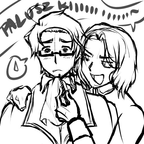Poland: Eat it, Austria. Eat iiiitttttt Just drawing lineart for HyliaBeilschmidt. Yay for my 1st Hetalia fanart ever :D