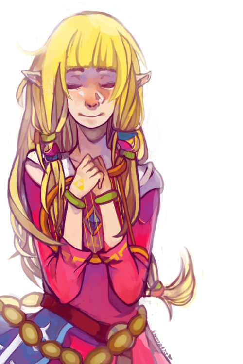 swoobats:  swoobats:  i am in a crazy drawing mood so here have SS Zelda she's a cutie   oh look the speedpaint finally finished uploading hahaha haha ha