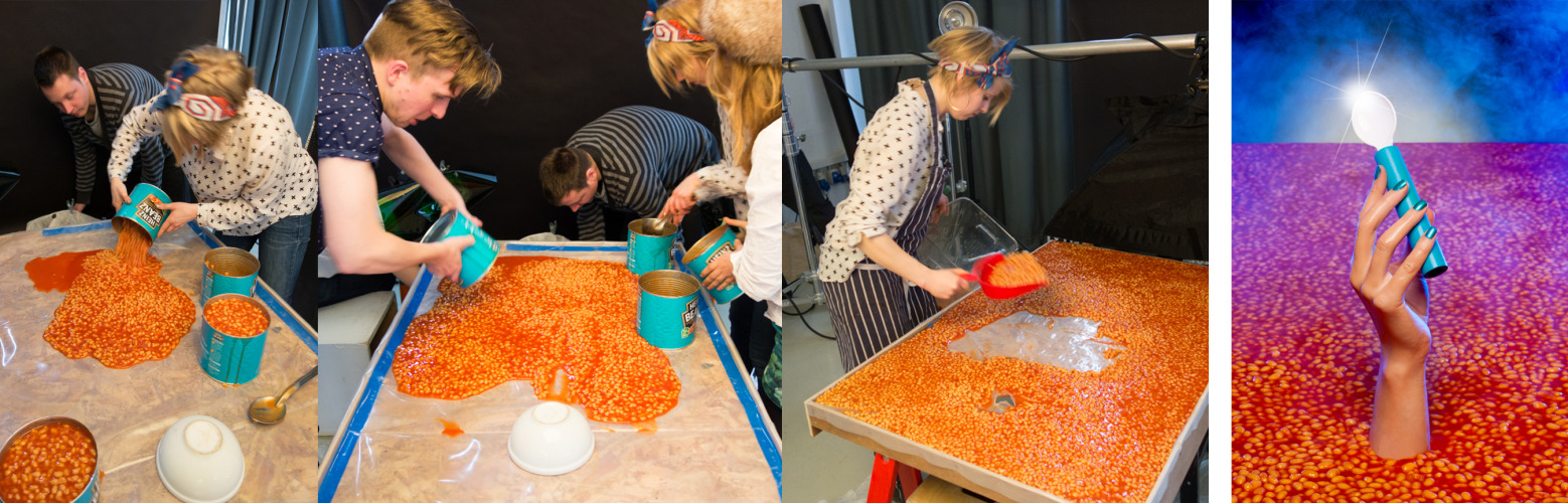 Heinz Baked Beanz for Bompas & Parr Behind the scenes of making the 'Bean Lake Excalibur' image for the Limited Edition Baked Beanz flavours. We used over 20 catering cans for the one image. Big shout out to Beth from B&P who was brave enough to do some body contorsion under the table and yet making her hand look so natural!