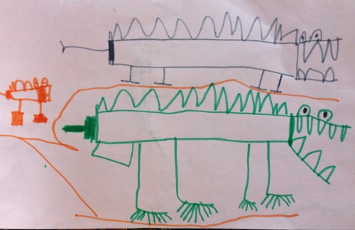 Alligator family (J brought his beloved lovey alli-gator to school. Alli inspired this drawing).  Note from J's Mom and Dad: is the boy leaving car stage and entering his animal and landscape period?  April 2013  Jonah (age 4 1/2)