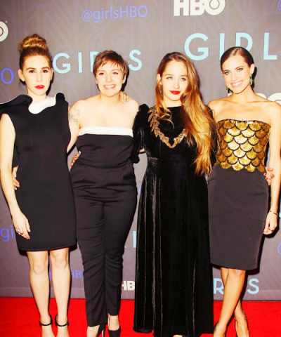 The cast of HBO's GIRLS at their season 2 premiere in NYC on Wednesday…