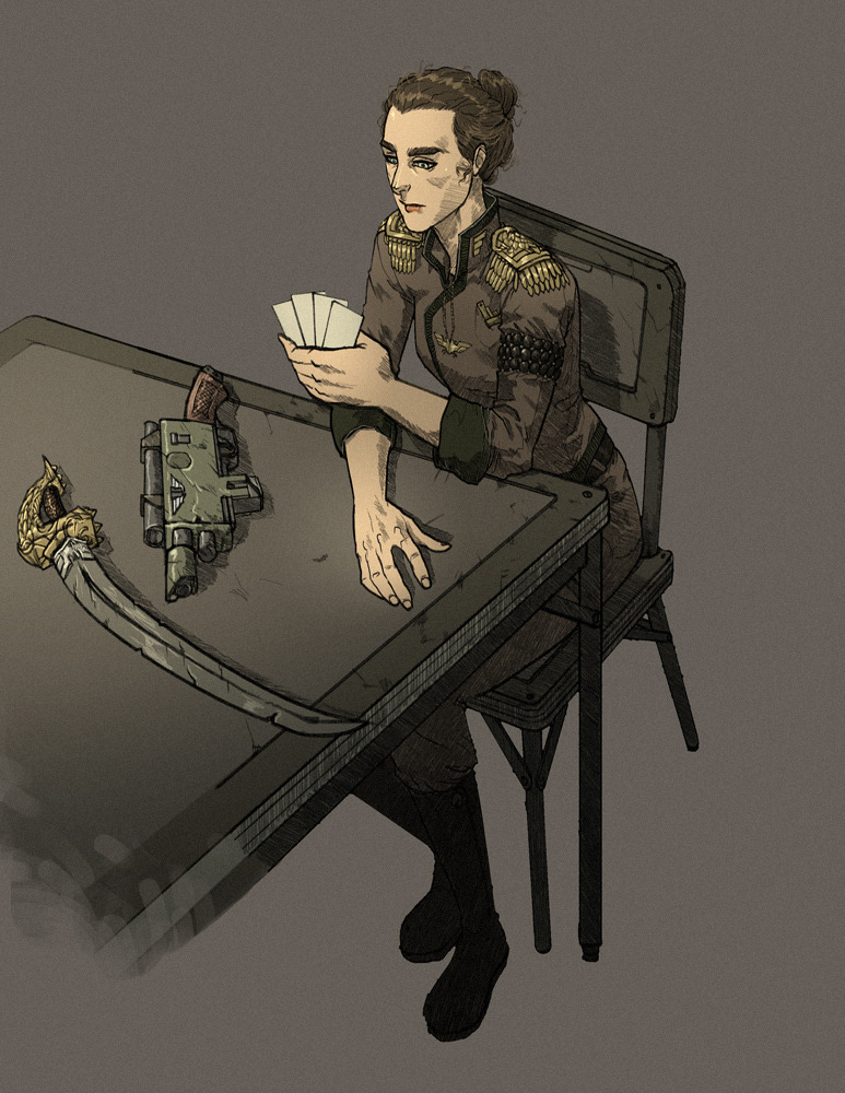 Imperial guardswoman playing cards.
