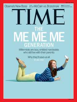 "lalondes:  crystalzelda:  ameliaelizabeth:  TIME's new cover makes me so mad I could write essays about it, but instead I'm going to keep job hunting since in today's world a university degree means nothing and therefore like much of my generation, I'm stuck choosing between minimum wage jobs and internships that I can't afford to accept in an attempt to pay off my tens of thousands of dollars worth of student debt.  I'd be interested in reading this article to see exactly what makes us entitled and lazy. Are we lazy because more of us are completing high school and going to college than ever before? Are we entitled because our standard of living is declining? Do we live with our parents because we're too slothful to leave or is because our education costs are getting steeper and steeper while we're getting less and less aid? Tell us, Time Magazine, about how we're narcissistic little slugs when we're faced with an economic crisis that resulted in a lowering of our standard of living, an increase in tuition costs and how when we get out of our very expensive schools, more and more of us are going to end up working minimum wage jobs.   I also want to note that it's really frustrating that the face of ""lazy, entitled narcissism"" is a young woman."