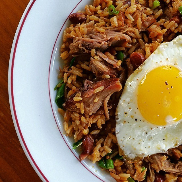 Rice & beans, pulled pork, fried egg. #lunch