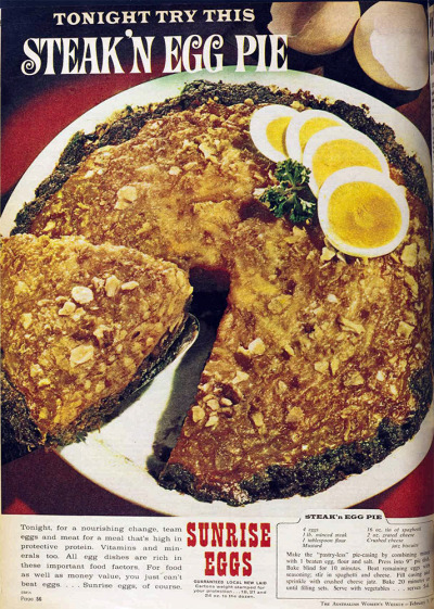 vivatvintage:  Steak 'n' egg pie. 1964.  Dear god no.