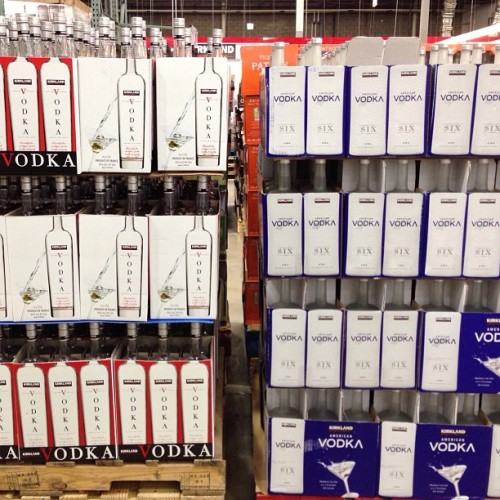 Life's toughest decision: Kirkland vodka or Kirkland American vodka? (at Costco)